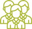 Infographie groupe de personnes, accès espace industriel